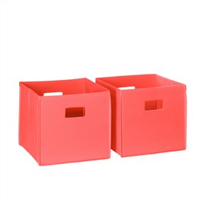 RiverRidge Home Folding Storage Bins - Fabric - 10.5-in x 10-in x 10.5-in - Coral - 2-Pack