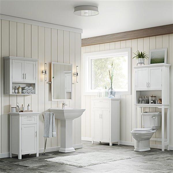 RiverRidge Home Somerset Two Door Bathroom Floor Cabinet - MDF - 11.81-in x 23.6-in x 40.25-in - White