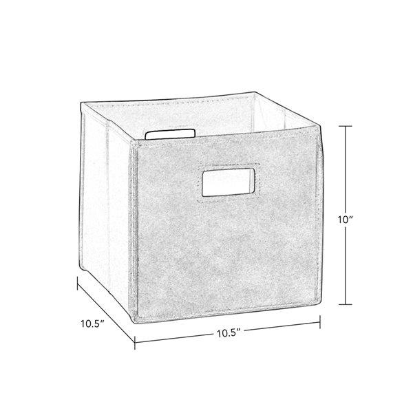 RiverRidge Home Folding Storage Bins - Fabric - 10.5-in x 10-in x 10.5-in - Black - 2-Pack