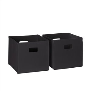 RiverRidge Home Folding Storage Bins - Fabric - 10.5-in x 10-in x 10.5-in - Black - 2-Pack
