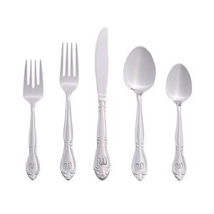 RiverRidge Home Rose Pattern 46-Piece Monogrammed Flatware Set - Letter W -  Stainless Steel