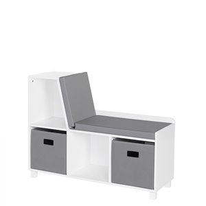 RiverRidge Home Book Nook Kids Storage Bench with Cubbies - 12.38-in x 35-in x 26.5-in - White/Grey Bins