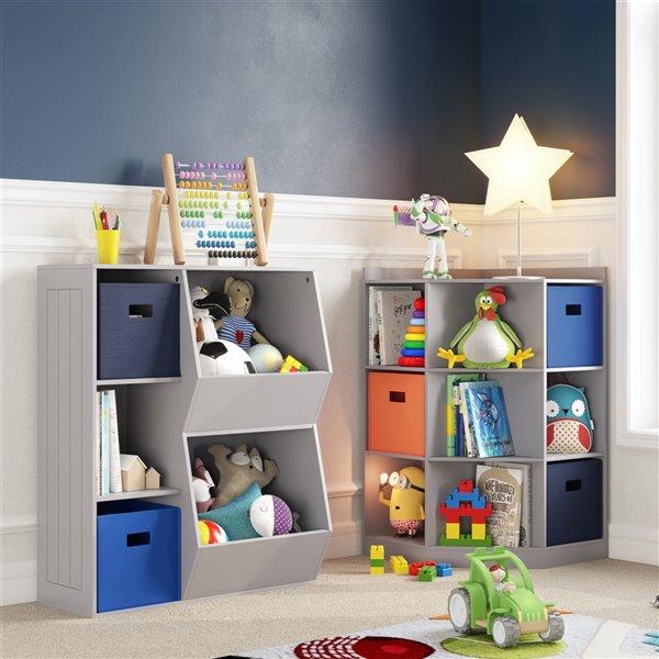 RiverRidge Home Kids Corner Storage Cabinet with 6 Cubbies/3 Shelves - 31.62-in x 37.31-in - Grey