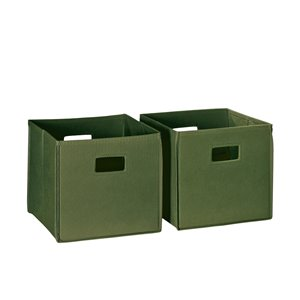 RiverRidge Home Folding Storage Bins - Fabric - 10.5-in x 10-in x 10.5-in - Olive - 2-Pack