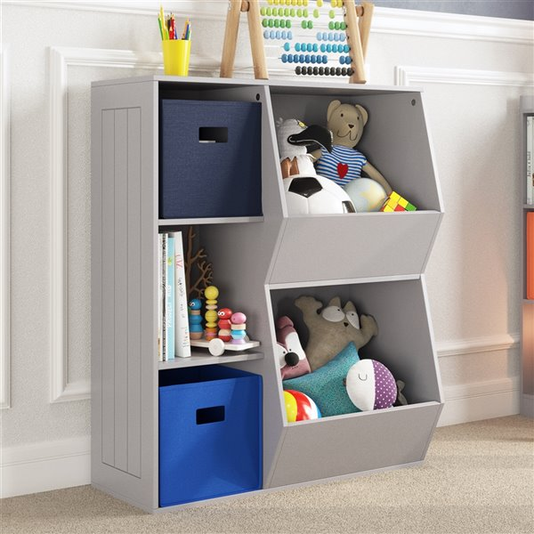 RiverRidge Home Kids Toy Organizer with 3 Cubbies/2 Veggie Bins - 13.75-in x 30.13-in x 36.69-in - Grey