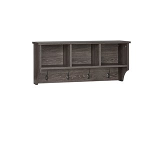 RiverRidge Home Woodbury Wall Shelf with Cubbies and Hooks - 9.38-in x 31.63-in x 14-in -Dark Weathered Wood Grain