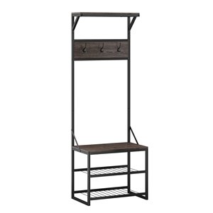 RiverRidge Home Afton Metal Frame Hall Tree - 14.19-in x 23.69-in x 66.75-in - Dark Weathered Wood Grain