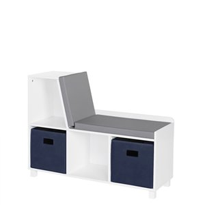 RiverRidge Home Book Nook Kids Storage Bench with Cubbies - 12.38-in x 35-in x 26.5-in - White/Navy Bins