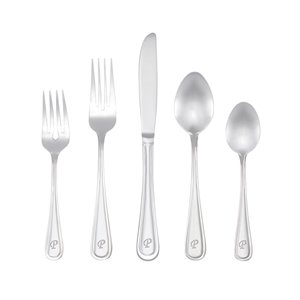 RiverRidge Home Marina Pattern 46-Piece Monogrammed Flatware Set - Letter P -  Stainless Steel