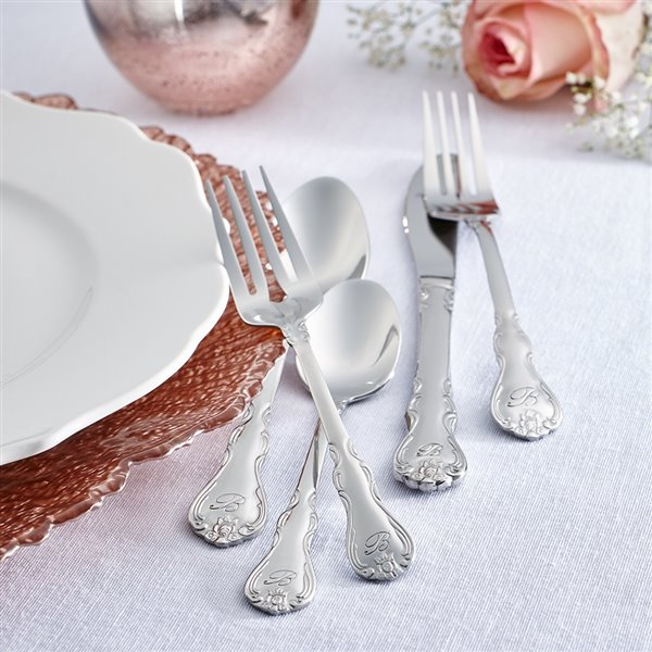 RiverRidge Home Bouquet Pattern 46-Piece Monogrammed Flatware Set - Letter A -  Stainless Steel