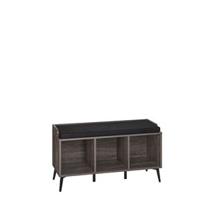 RiverRidge Home Woodbury Storage Bench with Cubbies - 13.38-in x 34.88-in x 19-in - Dark Weathered Wood Grain