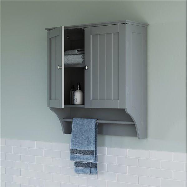 RiverRidge Home Ashland Two-Door Bathroom Wall Cabinet - 8.86-in x 23.82-in x 25.44-in - Grey