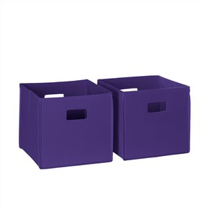 RiverRidge Home Folding Storage Bins - Fabric - 10.5-in x 10-in x 10.5-in - Dark Purple - 2-Pack