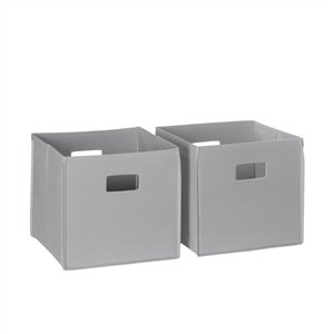 RiverRidge Home Folding Storage Bins - Fabric - 10.5-in x 10-in x 10.5-in - Grey - 2-Pack