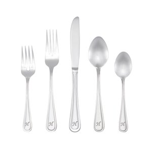 RiverRidge Home Marina Pattern 46-Piece Monogrammed Flatware Set - Letter H -  Stainless Steel