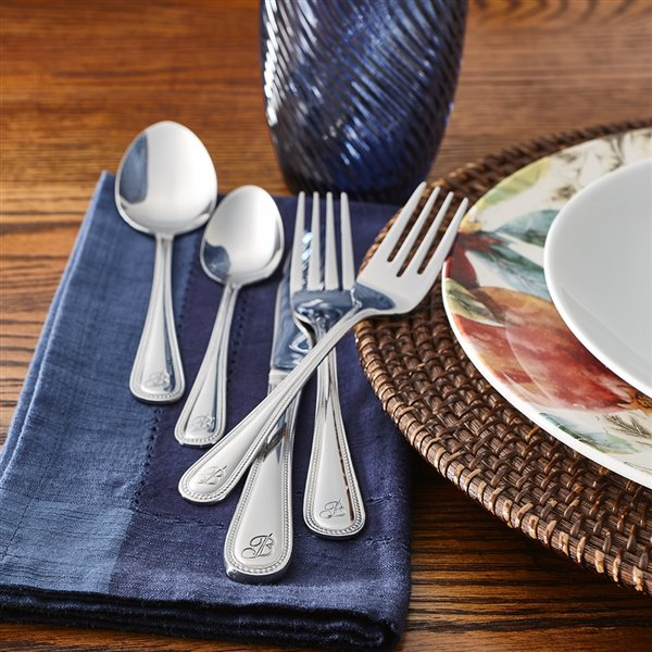 RiverRidge Home Beaded Pattern 46-Piece Monogrammed Flatware Set - Letter B -  Stainless Steel