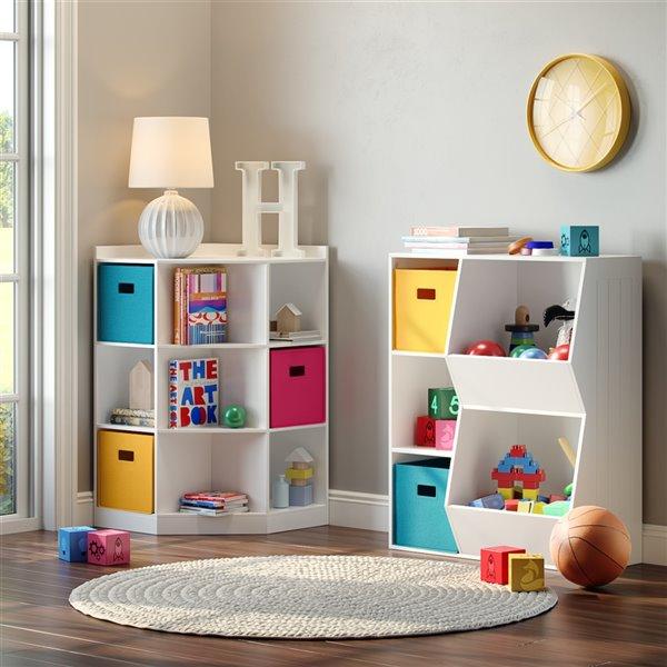 RiverRidge Home Folding Storage Bins - Fabric - 10.5-in x 10-in x 10.5-in - Turquoise - 2-Pack