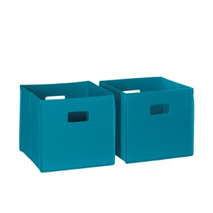 RiverRidge Home Folding Storage Bins - Fabric - 10.5-in x 10-in x 10.5-in - Turquoise - 2-Pack