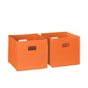 RiverRidge Home Folding Storage Bins - Fabric - 10.5-in x 10-in x 10.5-in - Orange - 2-Pack