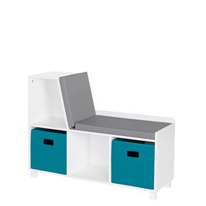 RiverRidge Home Book Nook Kids Storage Bench with Cubbies - 12.38-in x 35-in x 26.5-in - White/Turquoise Bins