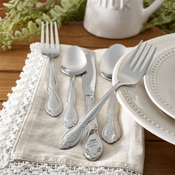RiverRidge Home Rose Pattern 46-Piece Monogrammed Flatware Set - Letter G -  Stainless Steel