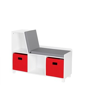 RiverRidge Home Book Nook Kids Storage Bench with Cubbies - 12.38-in x 35-in x 26.5-in - White/Red Bins