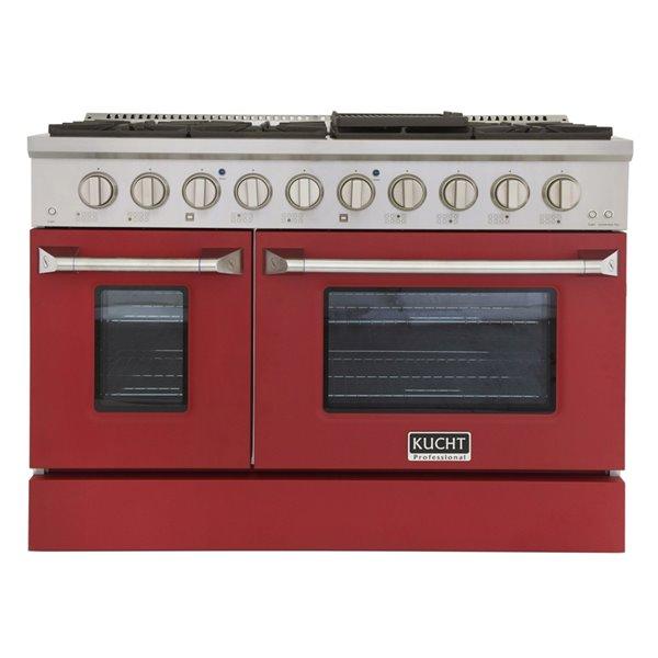 Cuisinière au gaz naturel avec 8 brûleurs et four à convection, rouge et acier inoxydable, 48 po
