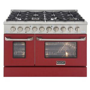 KUCHT Natural Gas Range with 8 Burners Grill/Griddle and Convection Oven - Red/Stainless Steel - 48-in