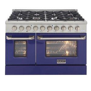 Cuisinière au gaz naturel avec 8 brûleurs et four à convection, bleu et acier inoxydable, 48 po