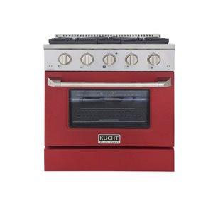 Cuisinière au gaz naturel KUCHT avec four à convection et porte rouge, 30 po