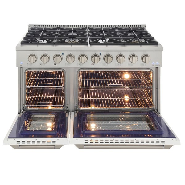 KUCHT Natural Gas Range with 8 Burners Grill/Griddle and Convection Oven - White/Stainless Steel - 48-in