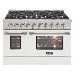 Cuisinière au gaz naturel avec 8 brûleurs et four à convection, blanche et acier inoxydable, 48 po