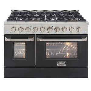 KUCHT Natural Gas Range with 8 Burners Grill/Griddle and Convection Oven - Black/Stainless Steel - 48-in