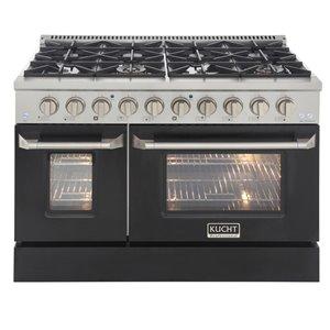 Cuisinière au gaz naturel avec 8 brûleurs et four à convection, noire et acier inoxydable, 48 po