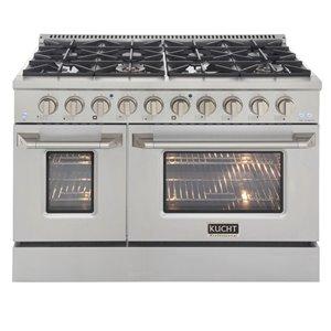 Cuisinière au gaz naturel avec 8 brûleurs et four à convection, acier inoxydable, 48 po