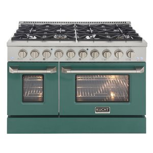 KUCHT Natural Gas Range with 8 Burners Grill/Griddle and Convection Oven - Green/Stainless Steel - 48-in