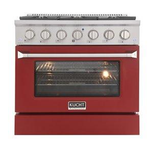 Cuisinière au gaz naturel KUCHT avec four à convection et porte rouge, 36 po