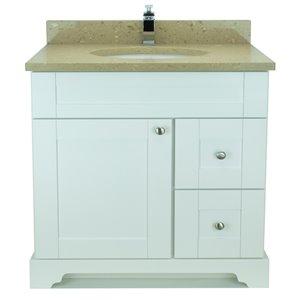 Vanitée avec comptoir en Quartz Brun Royal Bold Damian de Lukx®, tiroir à droite, 36 po, blanc