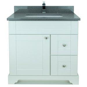 Vanitée avec comptoir en Quartz gris cristal Bold Damian de Lukx®, tiroir à droite, 36 po, blanc
