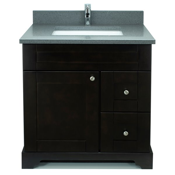 Lukx® Bold Damian Vanity With Quartz countertop - Right Side Drawer - 30-in - Espresso