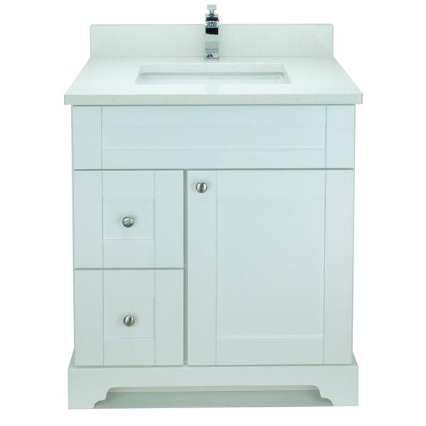 Vanitée avec comptoir en Quartz blanc satiné Bold Damian de Lukx®, tiroir à gauche, 24 po, blanc