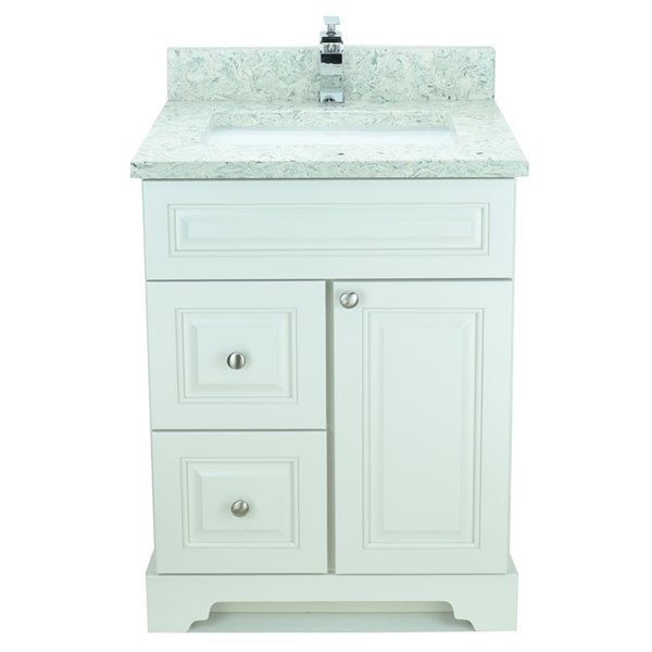 Lukx Bold Damian Vanity With Topaz Quartz Countertop Left Side Drawer 24 In Antique White Bvatz 024l Rona