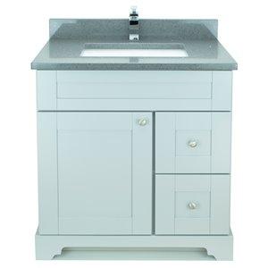 Vanitée avec comptoir en Quartz Bold Damian de Lukx®, tiroir à droite, 30 po, gris