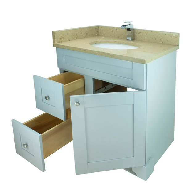 Lukx® Bold Damian Vanity With Royal Brown Quartz countertop - Left Side Drawer - 24-in - Grey