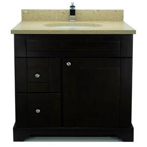 Vanitée avec comptoir en Quartz Brun Royal Bold Damian de Lukx®, tiroir à gauche, 36 po, espresso