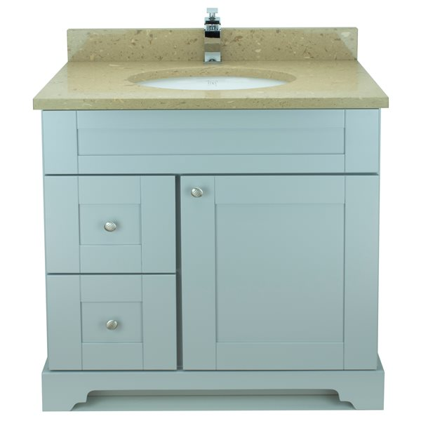 Lukx® Bold Damian Vanity With Royal Brown Quartz countertop - Left Side Drawer - 36-in - Grey