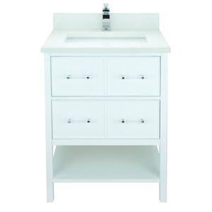 Meuble-lavabo avec dessus en Quartz blanc satiné Bold Gemma de Lukx®, 24-po, blanc