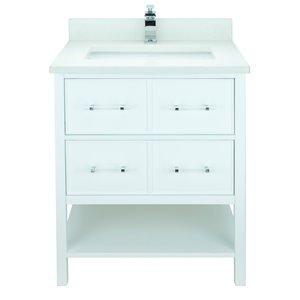 Meuble-lavabo avec dessus en Quartz blanc satiné Bold Gemma de Lukx®, 30-po, blanc