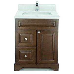 Vanitée avec comptoir en Quartz blanc satiné Bold Damian de Lukx®, tiroir à gauche, 24 po, bois royal