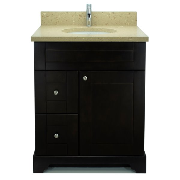 Lukx Bold Damian Vanity With Royal Brown Quartz Countertop Left Side Drawer 24 In Espresso Bverb 024l Rona